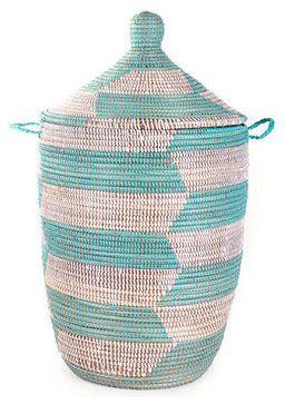 Senegalese Storage Hampers, Aqua craftsman baskets - $129