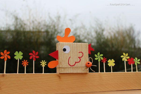 Gallina con il nostro legno di scarto.  www.toutpetitrien.ch/bricos/ - fleurysylvie