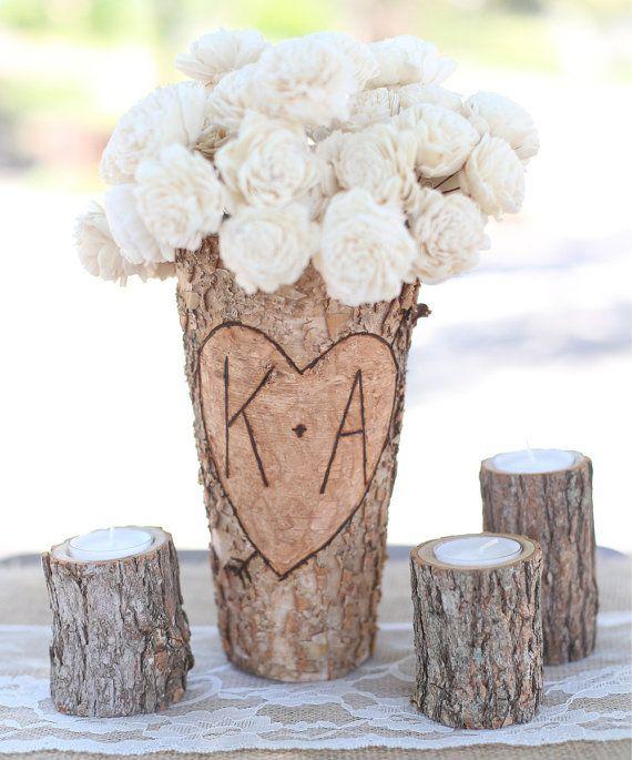 Bouleau personnalisé Vase rustique personnalisé mariage nuptiales de douche Noël cadeau mariage Party demoiselles d'honneur (FAMS1049)