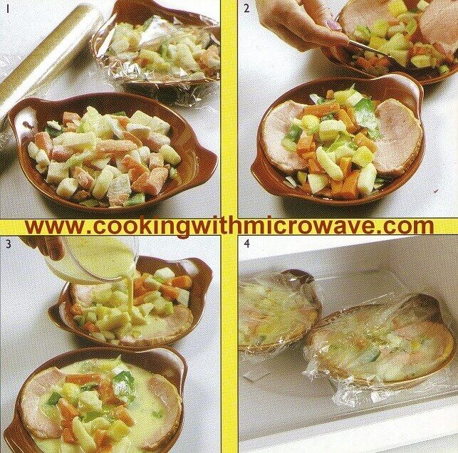 4 images showing how to make a quick lunch in the microwave