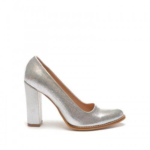 Pantofi Reton Argintii -  Piele eco  Colectia Pantofi cu toc de la…