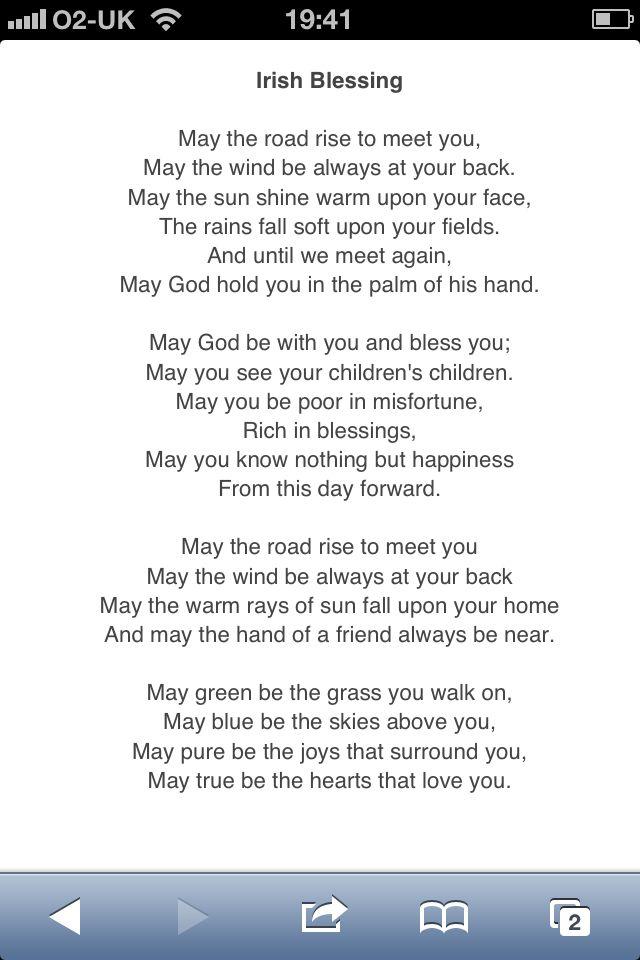 Irish wedding poem.      I have to have this at my wedding