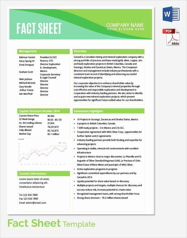 Project Information Sheet Template Fresh Sample Fact Sheet