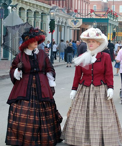 "Dickens on the Strand costumes -- Gal on the right might have a great idea... just a jacket that can go over a plain dress or skirt and ""tweak"" decade and ""look""... :)"