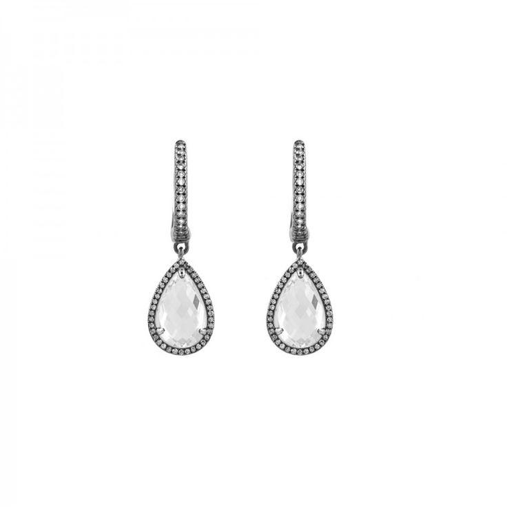 Pendientes de topacio blanco y diamantes