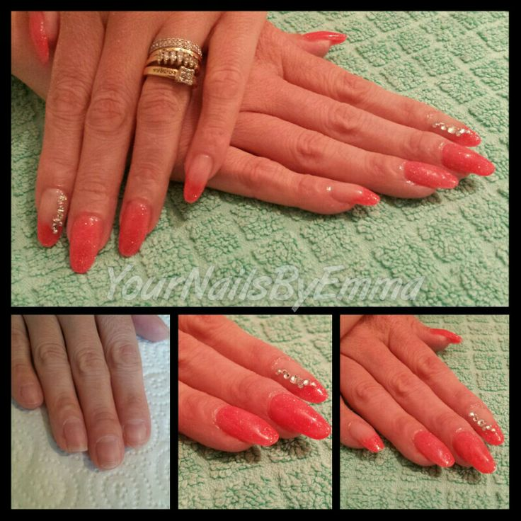 Fully sculpted custom mix acrylics with extended nail beds & swarovski crystal detail ☺