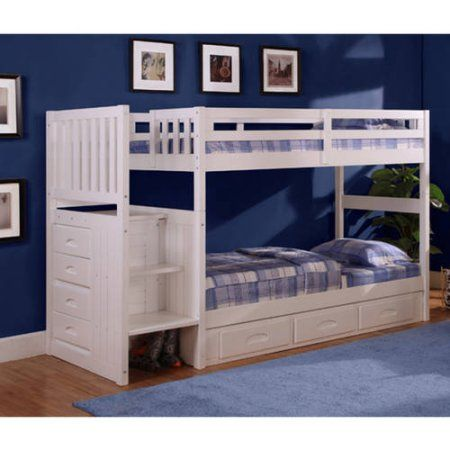 Free Shipping. Buy American Furniture Classics Twin-over-Twin Staircase Bunk Bed in a casual white finish at Walmart.com