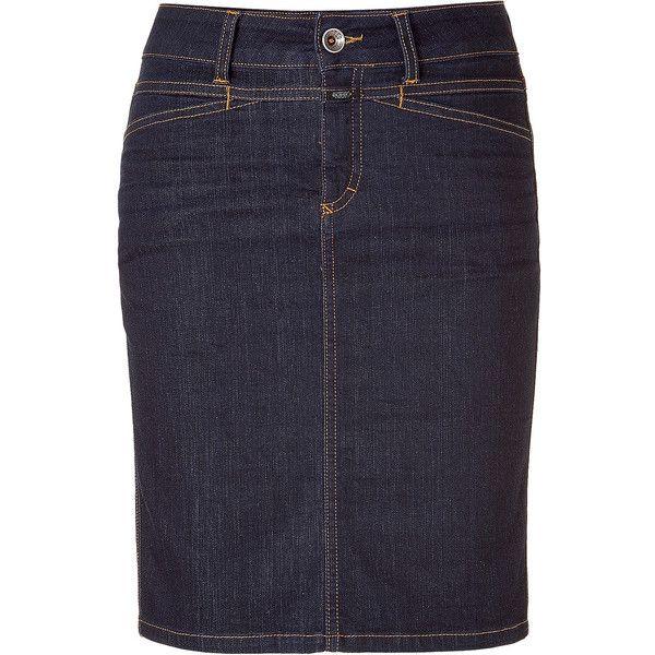 CLOSED Star Deep Dark Blue Jean Pencil Skirt ($140) ❤ liked on Polyvore