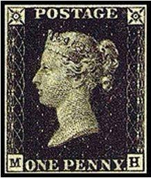penny black - penique negro primer sello postal de la historia.