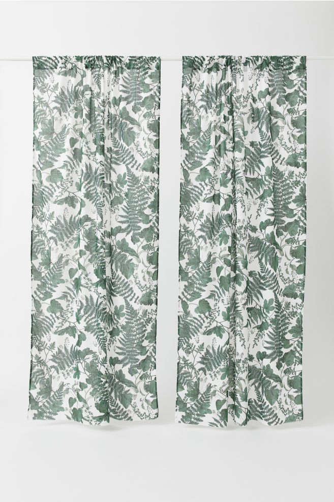 2 Pack Printed Curtain Panels Leaf Curtains Printed Curtains Panel Curtains