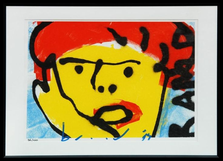 Dit is een: Zeefdruk hand gesigneerd, titel: 'Zeefdruk Herman Brood Rambo' kunstwerk vervaardigd door: Herman Brood