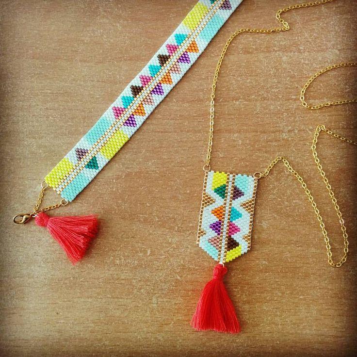 """147 Likes, 18 Comments - Stéphanie Le Roux (@_stephstef_) on Instagram: """"Et hop, une petite parure colorée pour faire revenir le soleil ! #handcraft #peyote #brickstitch…"""""""