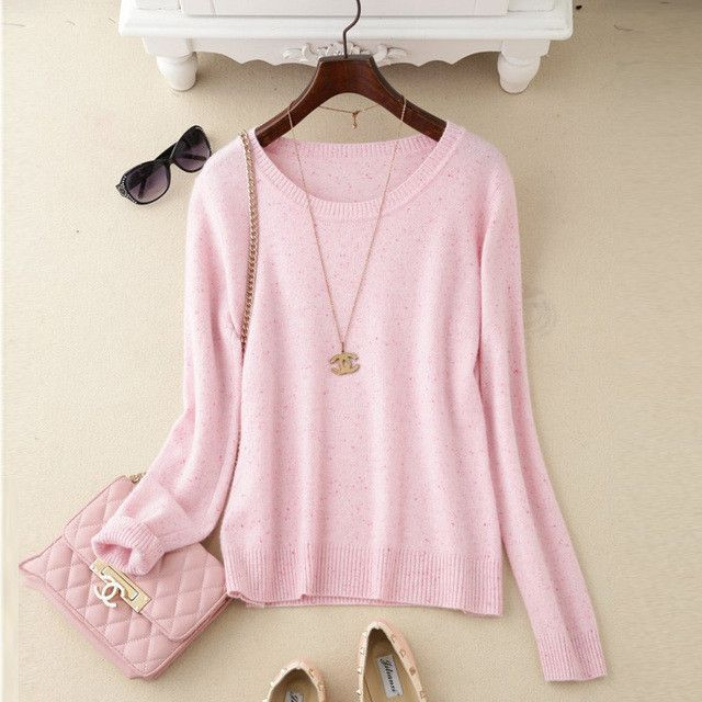 zocept 2016 Autumn Winter Pure Cashmere O-Neck Pullover Women Color Cashmere Yarn Knitted Casual Sweater High-Quality Clothing