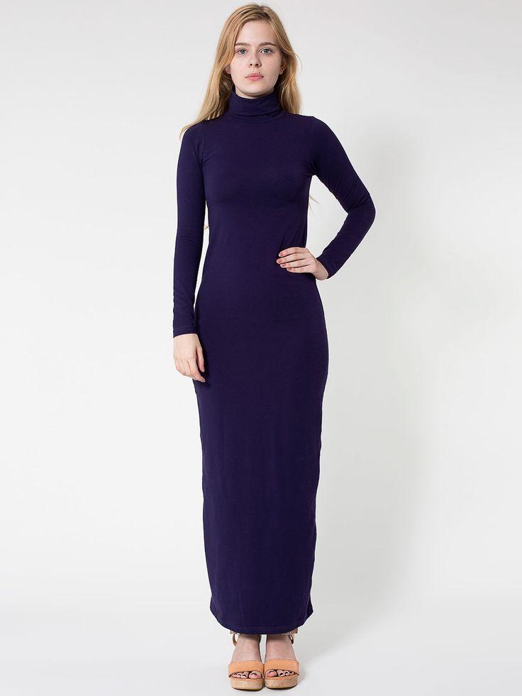 Cotton spandex jersey long sleeve turtleneck maxi dress for Long sleeve turtleneck wedding dress