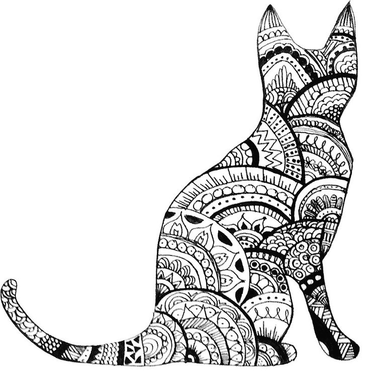 zentangle cat drawing sticker by ayseart un interessante desenhos de gatos zentangle. Black Bedroom Furniture Sets. Home Design Ideas
