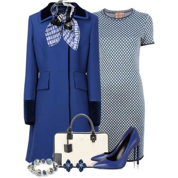 """Blue and Black Coat"" by cathy0402 on Polyvore"