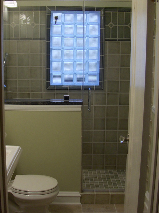 44 best half wall showers images on pinterest bathroom for Glass block window design ideas