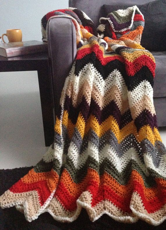 Chevron blanket Falling for multicolor autumn by WinkelvanCinkel