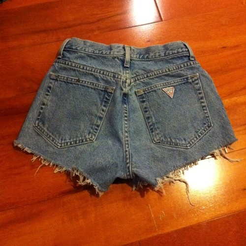 Cut off guess jeans.