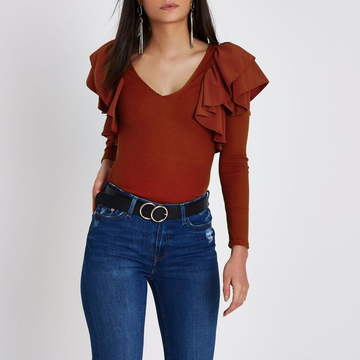Red frill V neck fitted ribbed top - Blouses - Tops - women