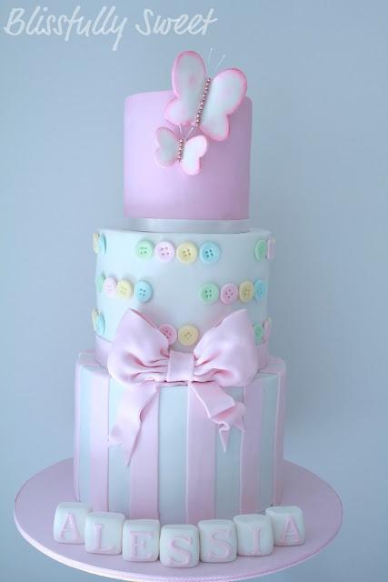 Buttons & Butterflies Christening Cake