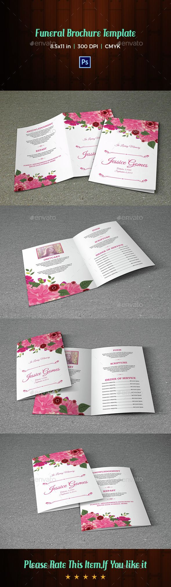 Floral Funeral Program Template-V05 by FuneralTemplates Funeral program Template