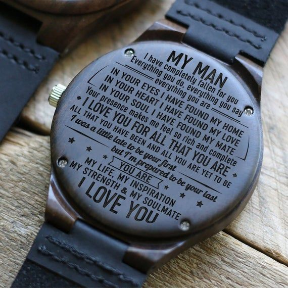 Description:  Engraved wooden watch for men and women anniversary gift for boyfriend and my man my son my wife  my husband my love or a g