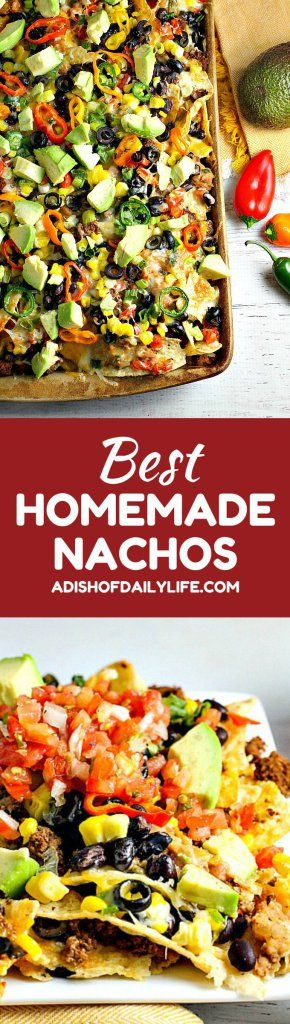 These Homemade Nachos, loaded with your favorite healthy fixings, are perfect for game day!