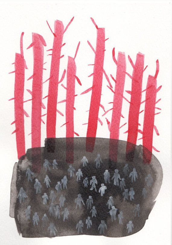 Red Trees 2 - Original illustration. Ink and gouache on paper on Etsy, £8.00