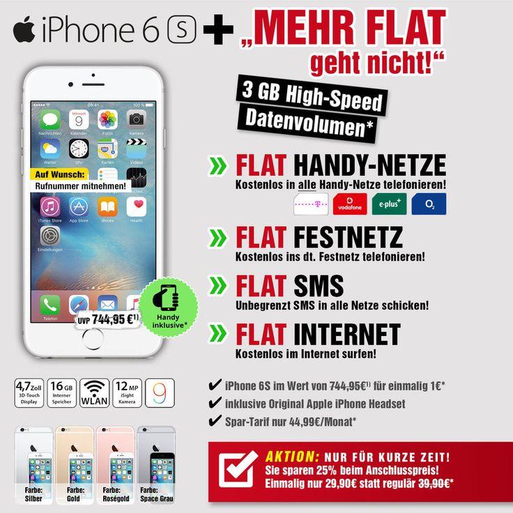 iPhone 6s 16GB Ohne Simlock mit Vertrag / Handyvertrag / Handy mit Vertrag / DHL