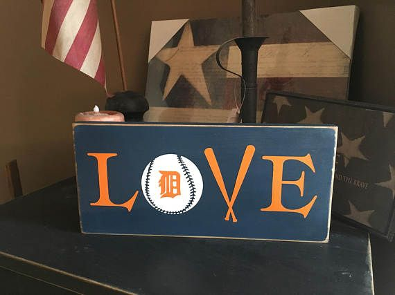 Love Ball Detroit Tigers Handpainted Wood Sign Plaque Baseball