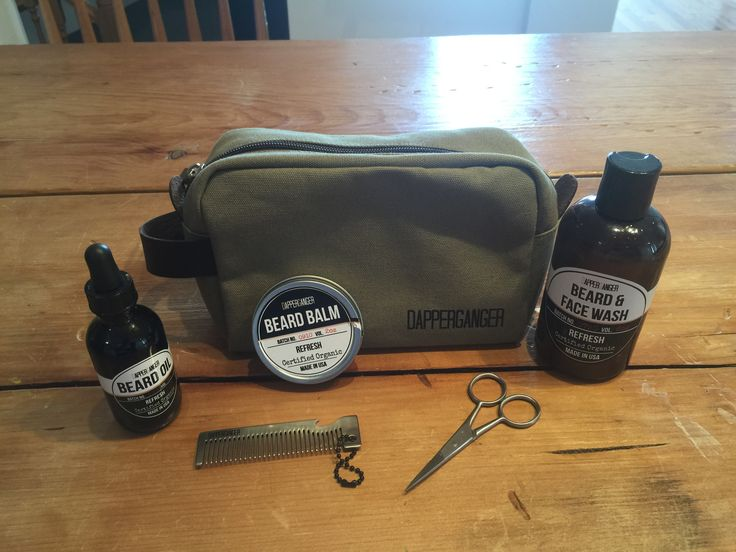 Looking for the perfect gift for fathers day. DapperGanger has an awesome beard kit which includes beard oil, balm, and wash all made with organic materials. The kit includes a Dopp Canvas toiletry bag, metal mini beard comb that doubles as a bottle opener and fit on your keychain. Perfect gift for men. Preorder yours by emailing us. #DapperGanger