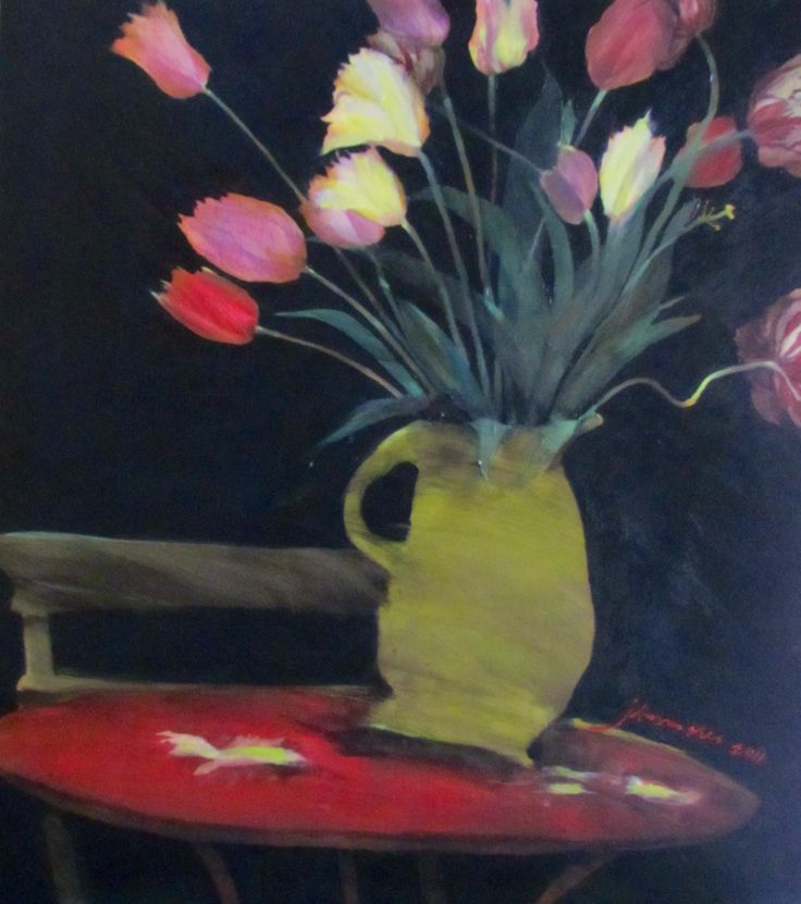 tulips from the garden. charroux. france.  painting by johann slee. www.slee.co.za