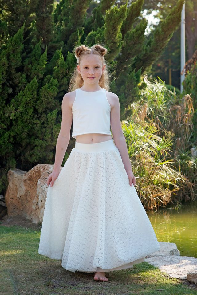 c5121a7dbb Boho Flower Girl Dress, Junior Bridesmaid Dress, Boho skirt and top set,  Ivory flower girl dress, Co in 2019 | Bubal'e Special Occasion Main  Collection ...