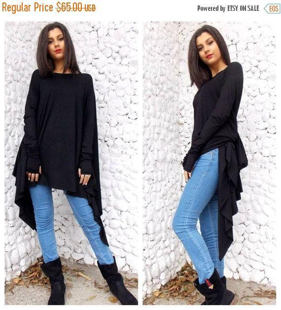 ON SALE 25% korting op zwarte Top / zwart asymmetrische jurk / Oversize zwart asymmetrische tuniek Top / lange mouwen tuniek /…