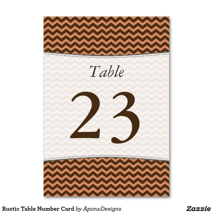 Rustic Table Number Card