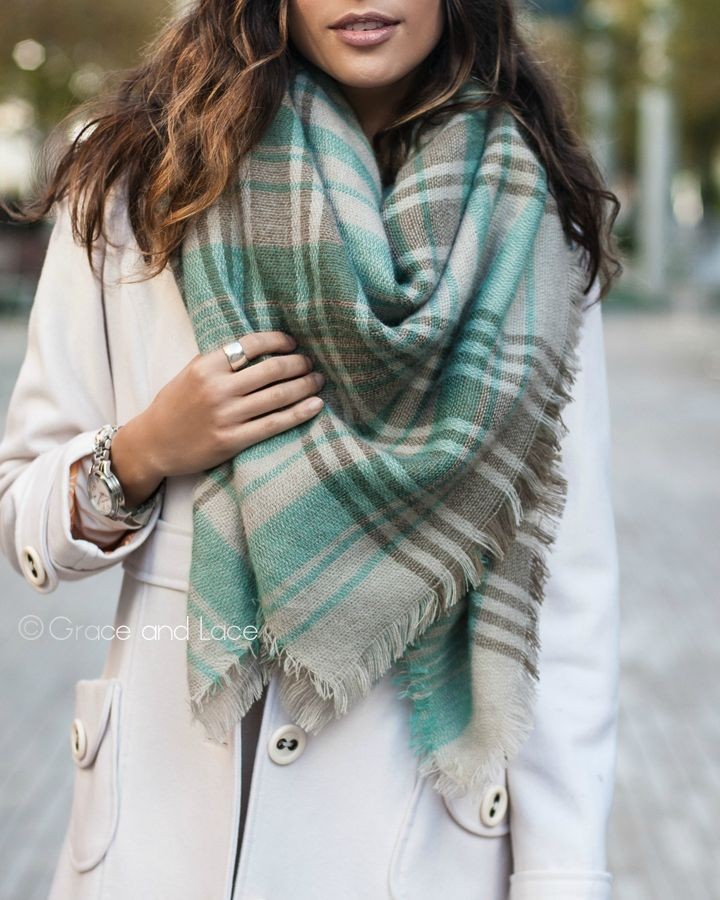 Grace and Lace - (**new item**) Blanket Scarf/Toggle Poncho in Mint/Grey, $34.00 (http://www.graceandlace.com/all/new-item-blanket-scarf-toggle-poncho-in-mint-grey/)