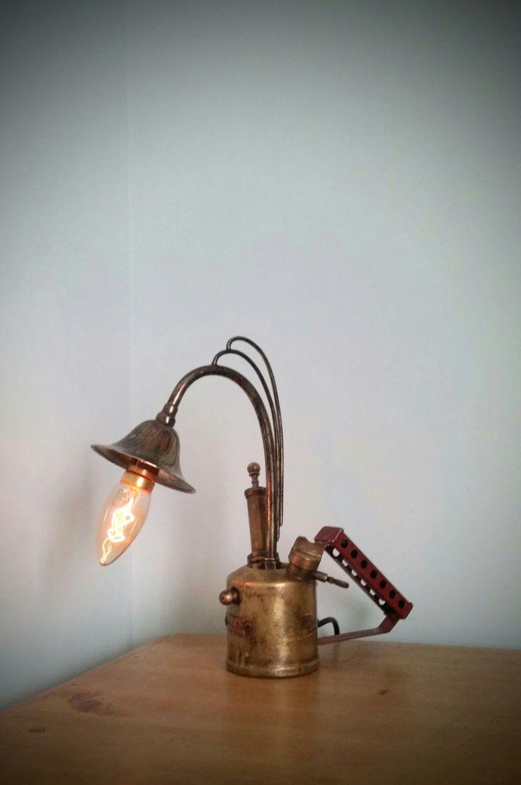 Vintage 40s cast iron metal deco industrial gooseneck desk lamp light - Amc77 Vintage Industrial Blow Torch Lamp