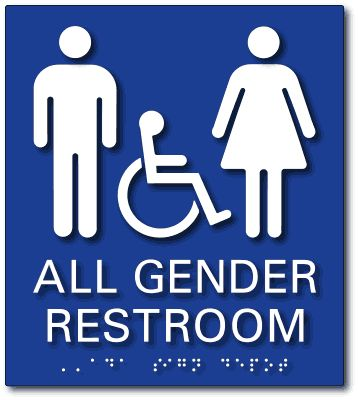 "From ADA Sign Depot | All Gender Accessible Restroom Tactile Braille ADA Signs - 8"" x 9"""