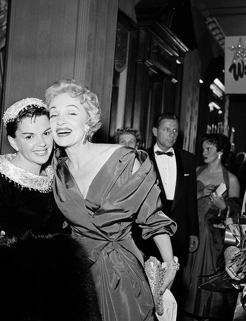 Judy Garland and Marlene Dietrich at the premiere of 'A Star is Born', 1954.
