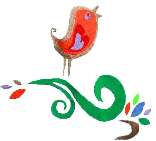 casual bag SPRING BIRD, embroidery