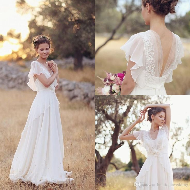 Custom Made Plus Size Beach Wedding Dresses 2015 V-Neck Beaded Chiffon Flowing Wedding Gowns With Sleeves Romantic Bohemian Wedding FY388, $131.94 | DHgate.com
