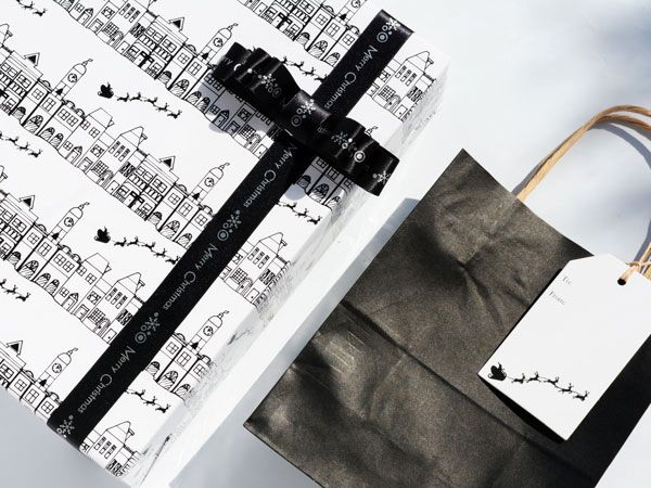 The Christmas Town wrap in black & white makes a fun colouring paper for the kids!  #Barama #Giftpackaging #Packaging #Giftideas #Gifts #Presents #Wrapping #Giftwrapping #Wrappingpaper #Paper #Artsandcraft #Ribbon #Decoration #Christmas #Kraft #Paperbags #Colouringpaper #Blackandwhite #Monochrome