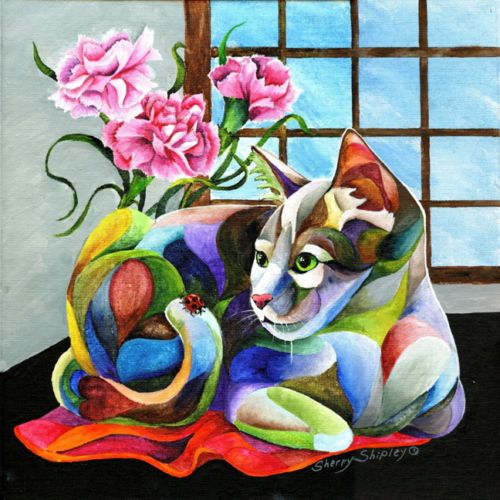 LADY-in-RED-Cat-and-Ladybug-12x12-Original-Framed-Art-on-canvas-Sherry-Shipley