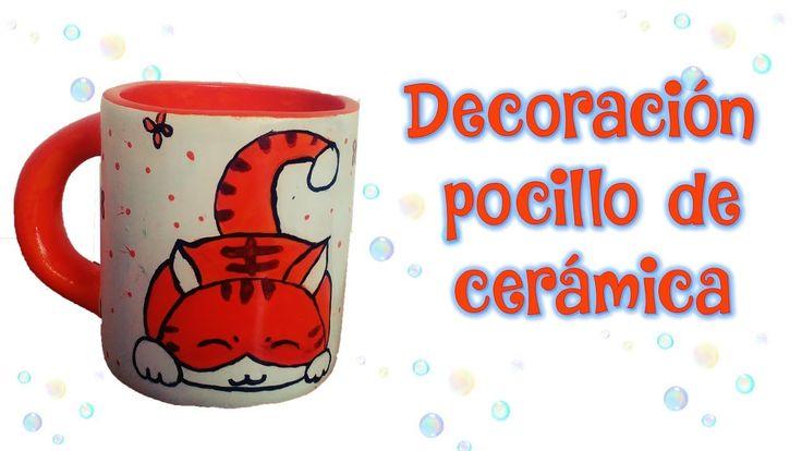 Decorando Pocillo de cerámica motivo gato - DIY MANUALIDADES