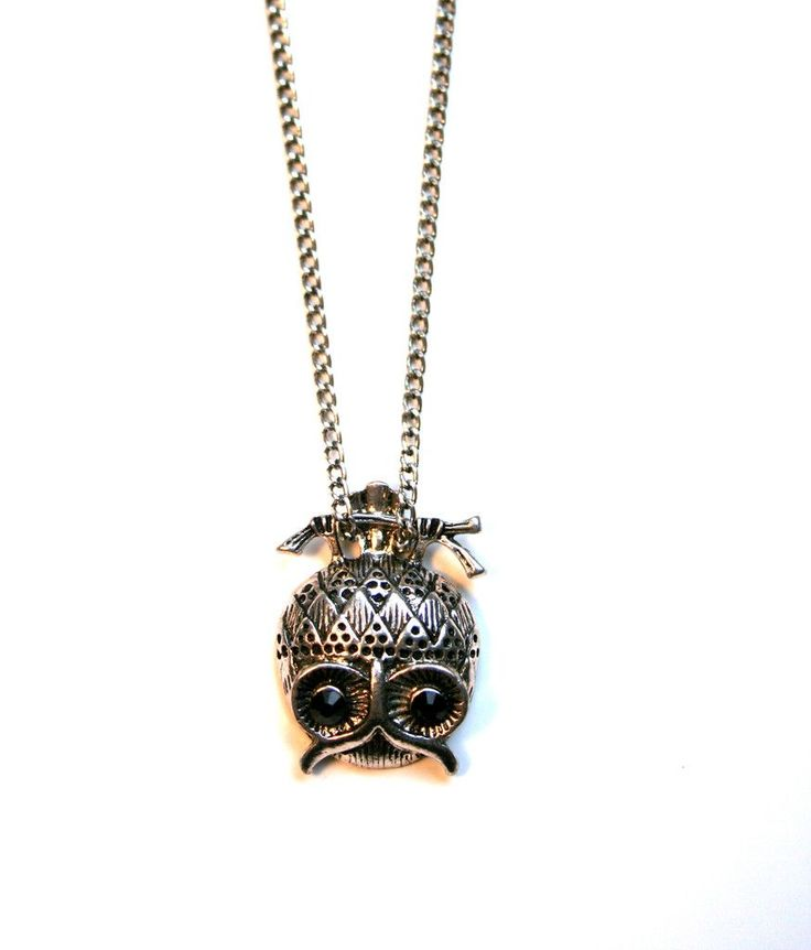 """Silver necklace, with upside-down owl pendant 26"""" necklace/1.5"""" pendant"""