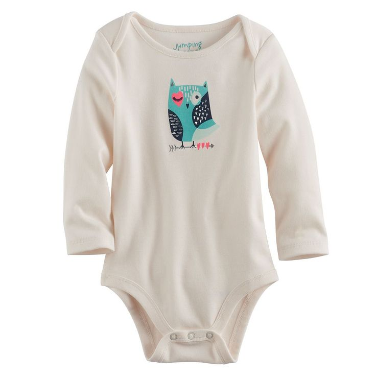 Baby Girl Jumping Beans® Foiled Owl Graphic Bodysuit, Size: 18 Months, White Oth