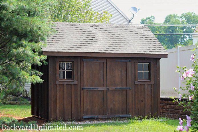 10'x12' Garden Shed with Board & Batten Siding and Mushroom Stain http://www.backyardunlimited.com/sheds/garden-sheds