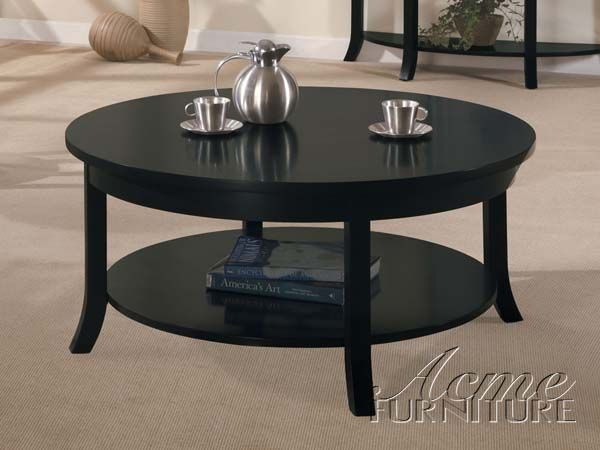 Gardena Black Wood Round Coffee Table W Shelves