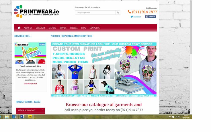 www.printwear.ie, one stop print & embroidery shop, designed and built by www.format.ie website designers Sligo.